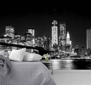 Wat is er pittoresker dan de east river in new york city? Deze zwart-witte muurschildering in new york is perfect voor jou.