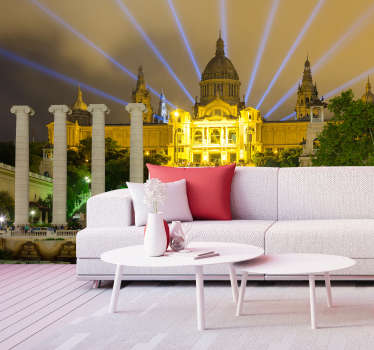 Exclusive photomural Barcelona for the wall of the Montjuic Palace at night illuminated with which you can enjoy a renewed decoration for lower cost.
