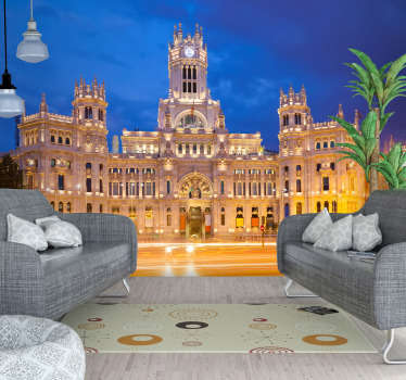Wonderful photomural city Madrid of the Palacio de Cibeles at night with which you can decorate the room of your house you prefer.
