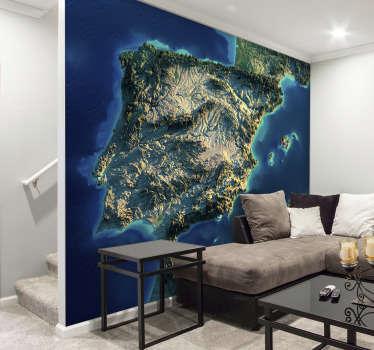 Fantástico mural de parede mapa 3d Península Ibérica que agora pode colocar em sua casa para desfrutar de um produto exclusivo.