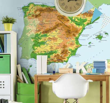 Maravilloso fotomural infantil mapamundi de España para pared con todos los fenómenos geográficos de nuestro país para que tus hijos aprendan