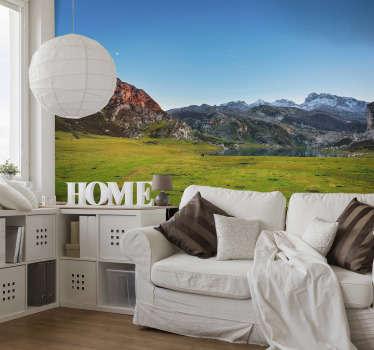 Original fotomural pared de naturaleza con vistas a un maravilloso paisaje de los Picos de Europa en un precioso atardecer para que decores tu casa