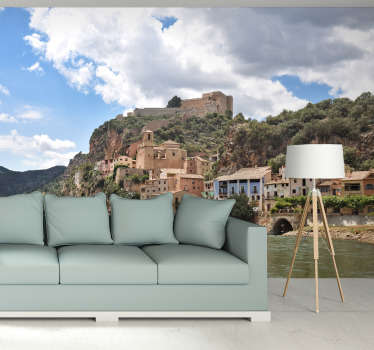 An unknown beauty, the town of Ebro in Spain. Using this city wall mural you will be able to create a very unique look in your room!