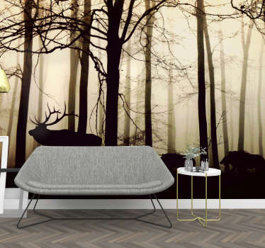 Your own tranquil forest to escape to. Adventure with the deer and boar to feel complete serenity. This forest wall mural is perfect for your walls