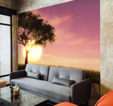 Sunset over a field landscape wall mural