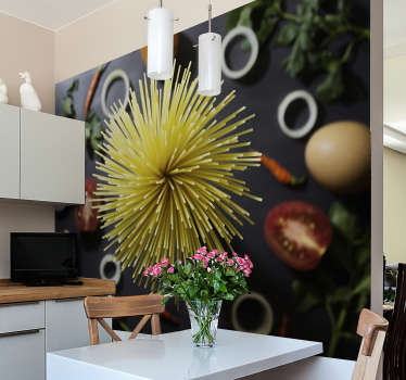 Oh gosh I could just devour a big bowl of spaghetti right now. If you love pasta then what could be more fantastic than this kitchen wall mural?