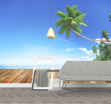 Tropical beach sea wall mural