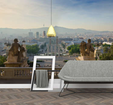 Fantastic wall mural for bedroom or living room overlooking the magic fountain of Montjuic and the whole city seen from the National Art Museum