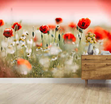 Fantastic red flower dining mural to bring joy and color into your home with a design you won't be able to miss. Our product is of first quality.