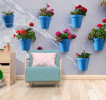 Fantástico fotomural de flores grandes de un patio andaluz para que lleves vida y color a tu hogar con un diseño exclusivo. Fácil de colocar.