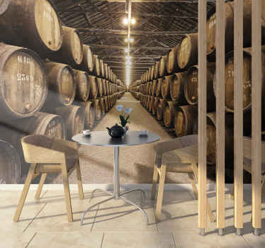 This wood wall mural shows a huge room filled with wine barrels. Every wine lover will want this photo wallpaper at home or the office!