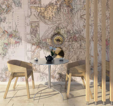This vintage world map wall mural shows an old map of the world with a golden compass in the middle The photo is so good, it looks like it's real!