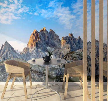 This mountain wall mural shows the stunning Three Peaks in the Dolomites mountains. The photograph and material is of high quality!