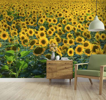 This floral photo wallpaper shows a huge field with beautiful sunflowers The bright yellow will be the highlight of your home!