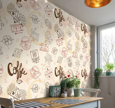 This kitchen photo wallpaper shows different coffee signs with a beige background. The beautiful colors will be the highlight of your home!
