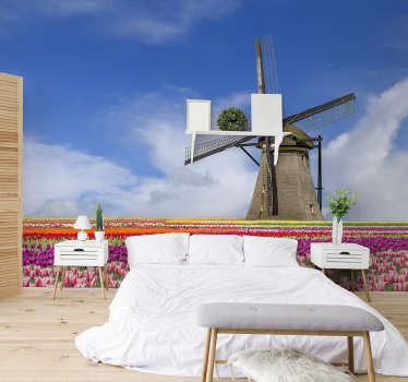 This bedroom photo mural shows a beautiful field of tulips with a windmill in the background The great colors of this product will be perfect for you!