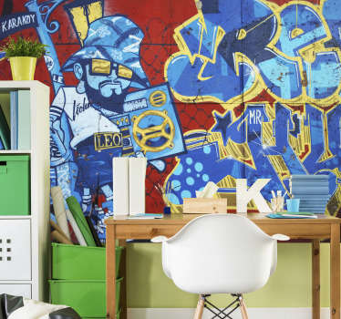 This photo mural shows cool street art in Amsterdam.The bright colors of blue and red will be the perfect decoration for your home!