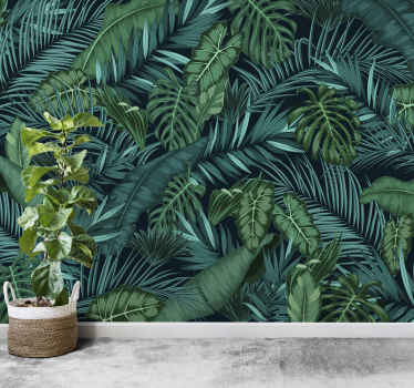 This green photo mural shows a beatiful green jungle scene with many leafs. The bright colors of this image are fascinating and great decoration!