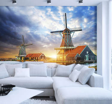 This lounge photo wallpaper shows a beautiful landscape with windmills and the sunset in the background You will be impressed by the