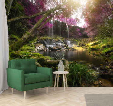 Wild forest jungle with waterfall landscape wall mural design showing thick trees with flourishing plants and flowers. This design is easy to apply.