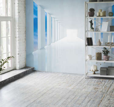 Talk a walk in the sky with this 3D wall mural. A design depicting a long white corridor leading to a mystery place! To the left is a view of the sky