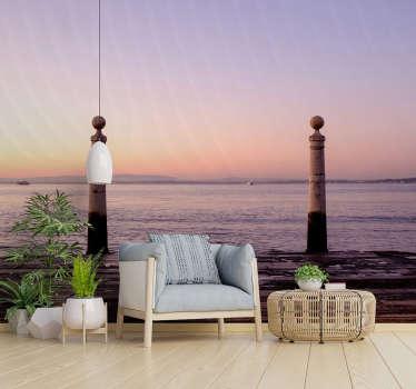 Papel mural pared de paisaje atlántico que tiene el diseño del mar y la apariencia de la puesta de sol sobre él revelando un hermoso horizonte.
