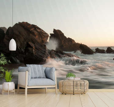 Atlantic Waves landscape wall mural design that contains the sea rocks of volcanic eruption and the heavy Atlantic wave of the sea and the cloudy sky.