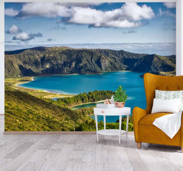 Lake of Fire landscape wall mural design contains a massive volcanic rock , the sea, the valley with green grasses and the huge cloud of fire.