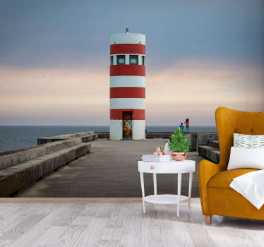 This Lighthouse landscape wall mural is just everything in itself. This design contains the sea, a station,the lovely landscape with people on it.
