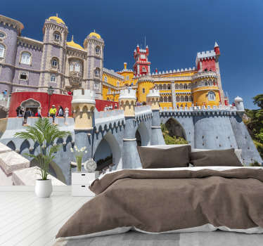 Imagine your wall with this beautiful, colourful and historic Pena's Palace wall mural of the Romanticist castle of Sao Pedro de penaferrim.