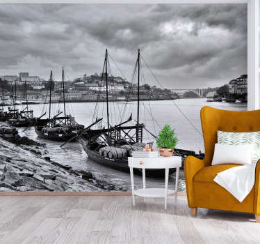 Rabelos wall mural Design of several Boats in line sailing on the sea at night. This design is very adhesive with high quality matte finishing .