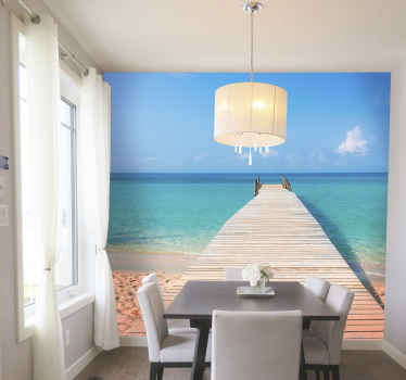 Jet off to your own private beach with this sea wall mural. This design will make you wish this was a portal to this exact beach