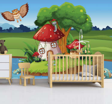 Mr Owl's home nursery wall mural