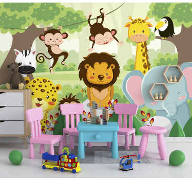 This children photo wallpaper shows a painted image of a group of wild animals in the jungle. You will be impressed by the bright colors!