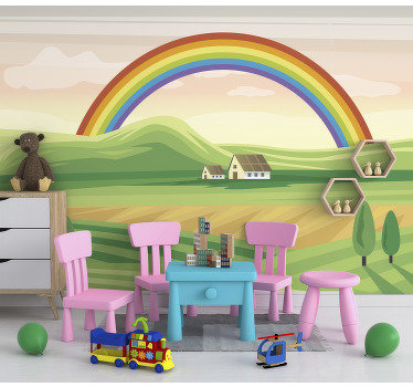 This children photo wallpaper shows a beautiful scene with a rainbow over some fields. The bright green and other colors will be the highlight!