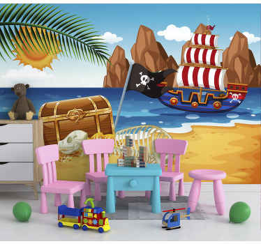 This children photo wallpaper shows a scene with a pirate boat and a big treasure. The bright colors will be the highlight in your home!