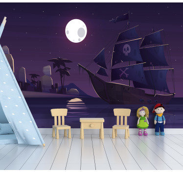 This children photo wallpaper shows a scene with a pirate boat at night. The intense colors will be the highlight in your home!