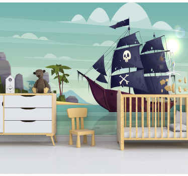This childrens photo mural shows a big pirate ship with palmtrees in the background. Apply this great image to your walls in the room of your choice!