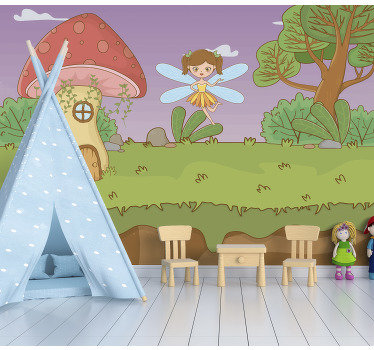 This fantasy forest wall mural shows a mushroom house with a ferry in woodland The colors on this image are very bright and will decorate your home!