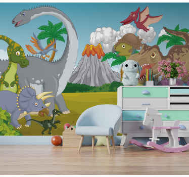 This childrens wall mural shows a scenery with many happy dinosaurs and a vulcano in the background The colors on this image are beautiful!