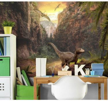 ¡Este fotomural para pared muestra dinosaurios con grandes montañas en el fondo, los colores son bonitos serán una decoración perfecta!