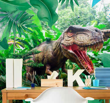 Check out this children's mural with this amazing, realistic T-rex  in the jungle. Wake up your creativity with this amazing design!