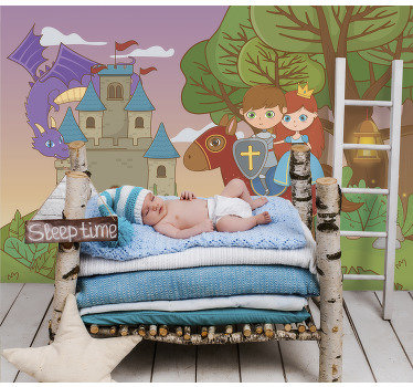 Order fantasy wall mural for your kids and make them happy with this design of magical place with knight, princess, castle and a dragon.