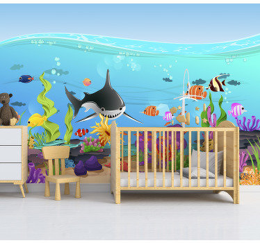 This kids bedroom mural shows an underwater scenery with many lovely fishes and sea creatures The colors on this image are very beautiful and bright!