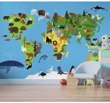 This world map wall mural shows a minimalistic world map with almost all animals of the continents on it. The colors on this image are very bright!