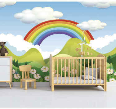 To have a kids wall mural with a rainbow on blue sky is a dream of every child. Make it possible and order this stunning wall mural now!