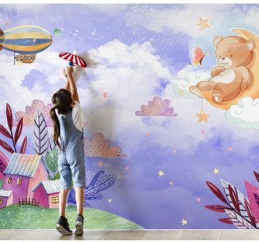 Let your child dream away with the sky wall mural on which it has the opportunity to play between the clouds.,while standing on the land.