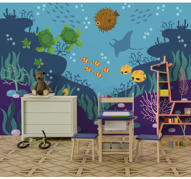 Let your children feel like fish in the water in their rooms by decorating them with this aquatic wall mural. Vivid colours!