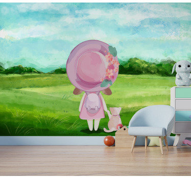 Order this beautiful kids mural and begin this crazy adventure. The design of a little girl and a cat will make your kids produd of their rooms.