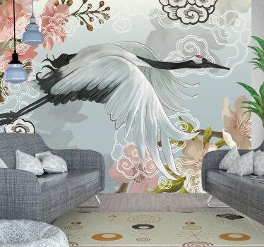 Dit prachtige fotobehang toont een schilderij van een kraanvogel met bloesems op de achtergrond. Met geweldige kleuren is dit de perfecte decoratie.